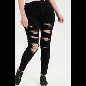 AMERICAN EAGLE High Rise Next Level Stretch Skinny Distressed Black Jeans SZ 4